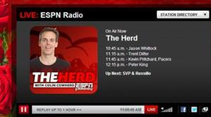 Colin Cowherd ESPN Radio Show Snapshot 2.5.2014